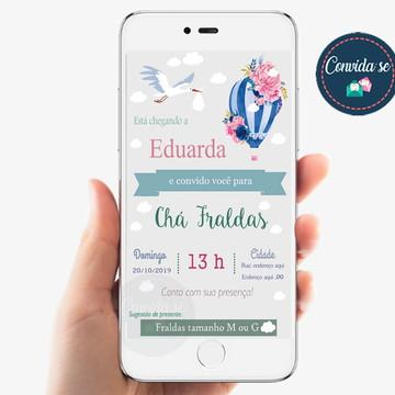 Convite balão - Chá fralda - Digital