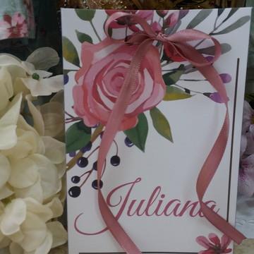 Sacolinha personalizada floral para lembrancinha de festa