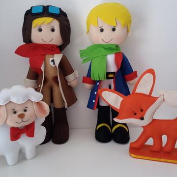 Kit Pequeno Príncipe, Aviador, Ovelha e Raposa em Feltro.