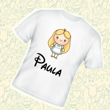 Camiseta Infantil Personalizada Alice Princesa C177BR