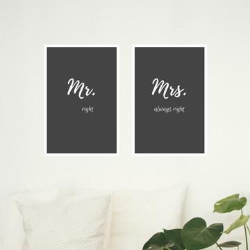 Kit de quadros - Mr (right) - Mrs (always right).