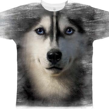 Camiseta Queima de Estoque Cachorro Husky Baby Look GG