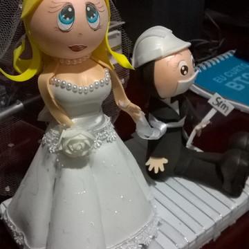 Enfeite de bolo casal de noivos