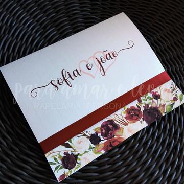 Convite de Casamento Vintage Marsala