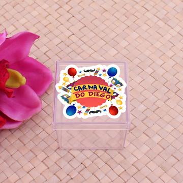 Caixinha de acrílico com adesivo com texto- máscara carnaval