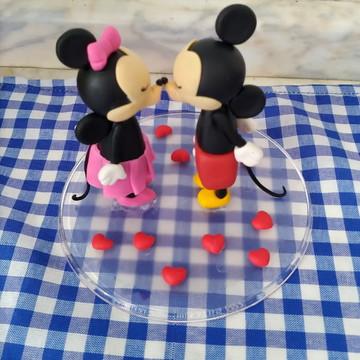 Topo de bolo p/ noivado ou casamento no tema Minnie & Mickey