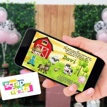 Convite Arte Digital Personalizado Festa Fazendinha