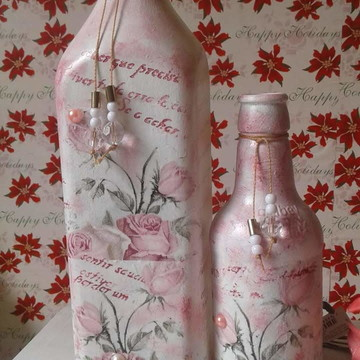 Kit de Garrafas Decoradas Rosa Maria