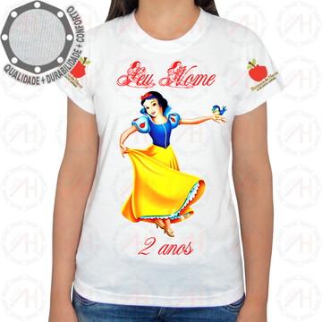ecffd4418d Camiseta Branca de Neve com Pássaro Azul | Elo7