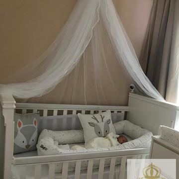 Dossel Reto Branco com Mosquiteiro Tule c/Viés Berço Bebê