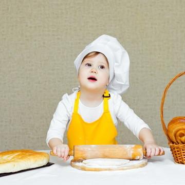 3 Avental infantil unissex com chapéu de cheff