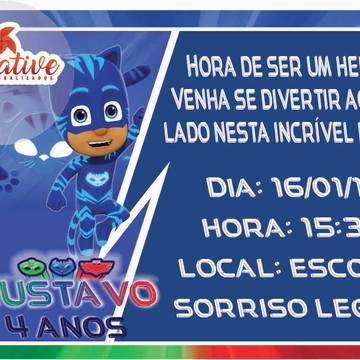 convite arte digital (virtual) pjmasks