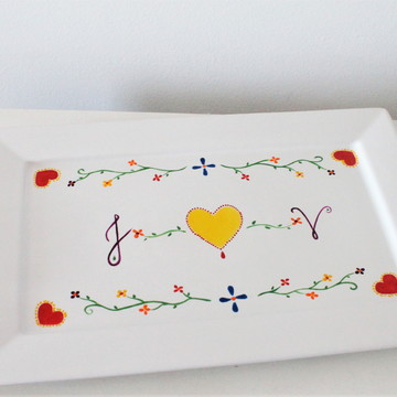 Bandeja de porcelana Lenço dos Namorados