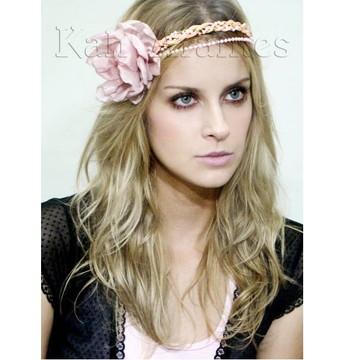 Headband Rosa com Flor Rosa