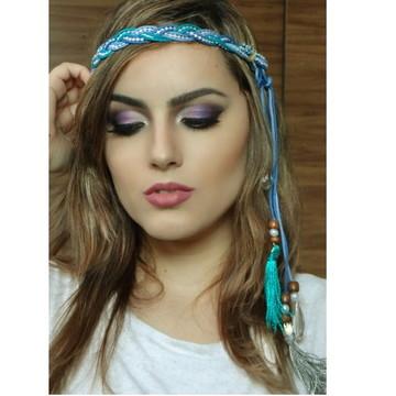 Headband Azul com Franjas
