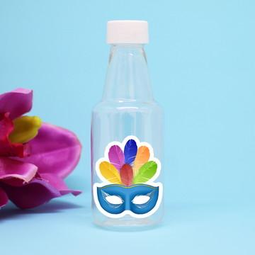 Garrafinha de plástico com adesivo - máscara carnaval