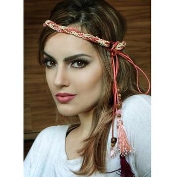 Headband Rosa com Franjas