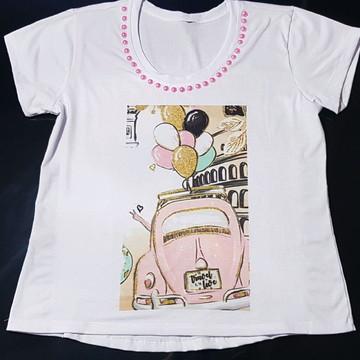07cab62127 Camiseta T-shirt Feminina - Fusca rosa