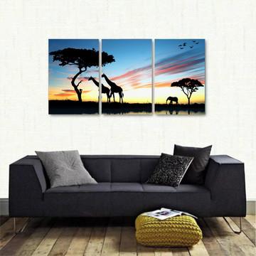Quadro Decorativo Africa Paisagens Natureza 3 peças