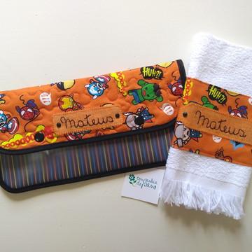 Kit porta escova personalizado e toalha boca personalizada