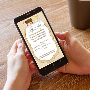 Convite Digital Batizado de Gêmeos