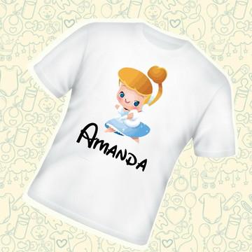 Camiseta Infantil Personalizada Cinderela Princesa C181BR