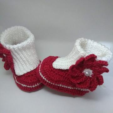 Bota Luísa vermelha/branca
