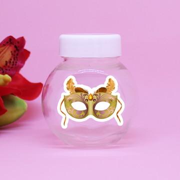 Baleiro de plástico com adesivo – máscara carnaval