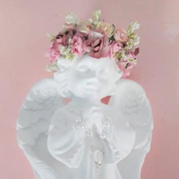 Anjos em Gesso c/flores e mini terço