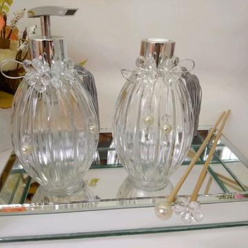 Kit lavabo prata com bandeja de espelho