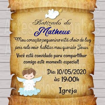 Convite pergaminho Batizado