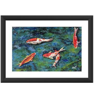 Quadro Carpa Japonesa Natureza Oriental Peixe Colorido 45x60