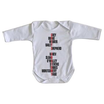 Body bebê roupa nenê Greys Anatomy seriado palavras