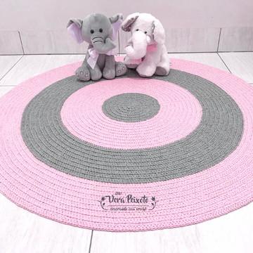 Tapete infantil cinza e rosa