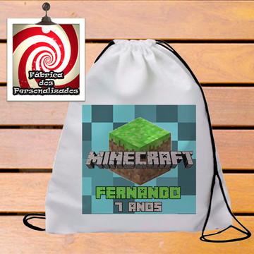 Mochilinha Brinde festa Aniversario tema Minecraft com nome