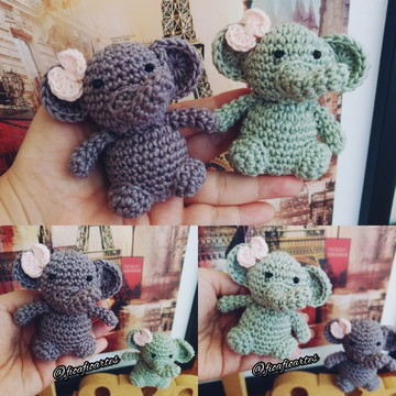Mini Elefantinhas de Crochê - Lembrancinha