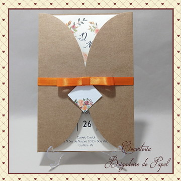 Convite de casamento - ródio negro laranja
