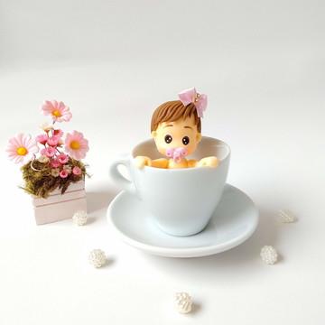 Topo de bolo Chá de Bebê na xícara