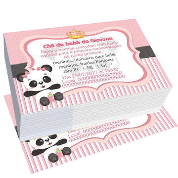 convite ursinho panda cha de fraldas personalizado bebe rosa