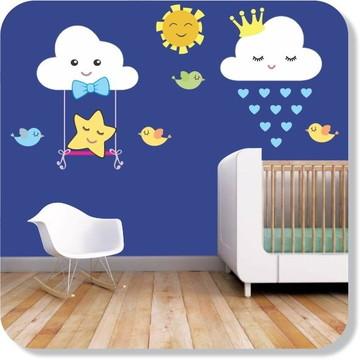 Adesivo Decorativo Nuvens Menino Balanço Quarto Bebê Benção