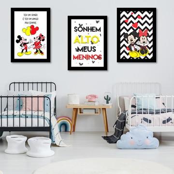 Kit 3 Placas Decorativas Quarto Irmãos Mickey e MInnie