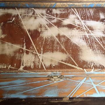 Caixa artesanal rústica provençal em madeira de demolição
