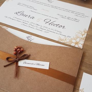 Convite de casamento rústico cetim