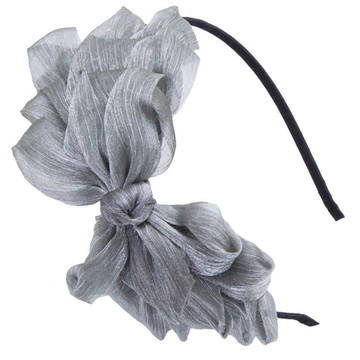 Tiara Laço Enfeite Acessório De Cabelo Penteados Prata Silve