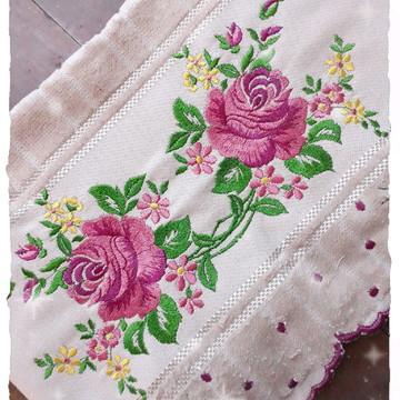 Toalha Rosto barrinha bordada Floral