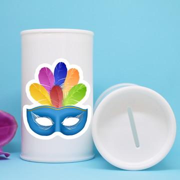 Cofrinho de plástico com adesivo – máscara carnaval