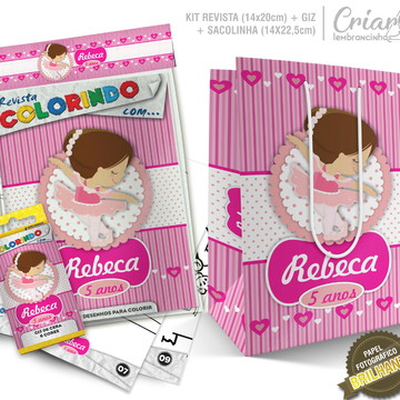 Sacolinha + Kit de colorir PERSONALIZADO - Bailarina