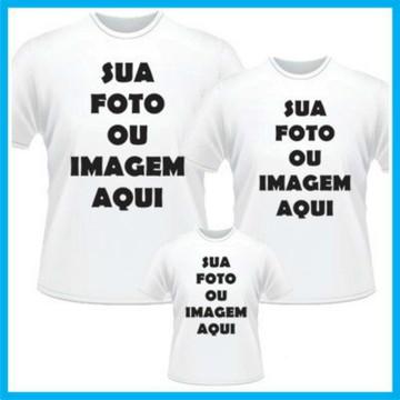 kit com 3 camisetas aniversario com seu tema personalizado