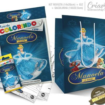 Sacolinha + Kit de colorir PERSONALIZADO - Cinderela