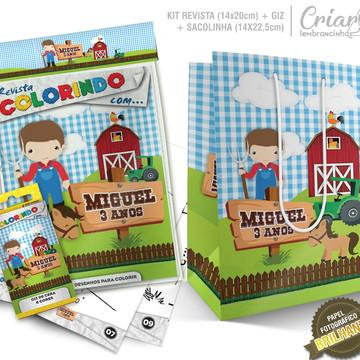 Sacolinha + Kit de colorir PERSONALIZADO - Fazendinha